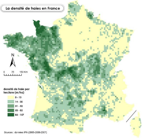 Densité de haies en France par km² (2005-2007)